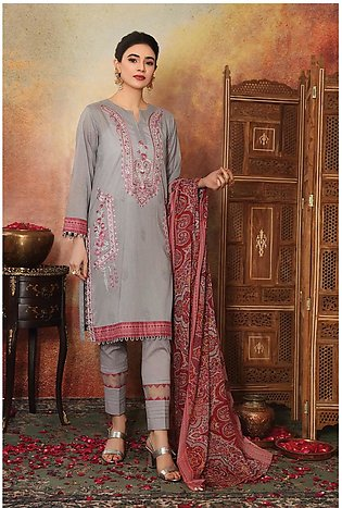 42101103-Embroidered Printed Super Fine Lawn, Voil & Cambric-3PC