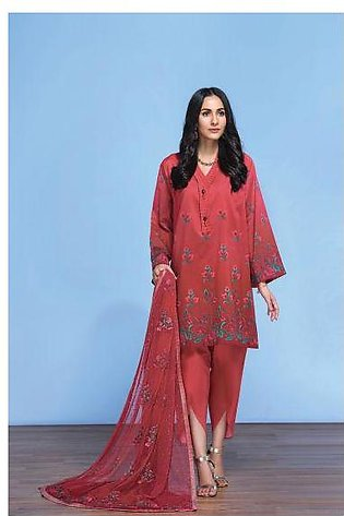 42001298- Digital Printed Lawn, Cambric & Embroidered Net 3PC