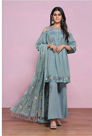 42001289- Printed Embroidered Lawn, Cambric & Voil 3PC