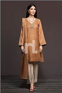 KF-381 Brown Dyed Embroidered Stitched Formal Shirt & Embroidered Shawl – 2PC