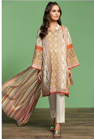 42001042-Printed Lawn, Cambric & Voil 3PC