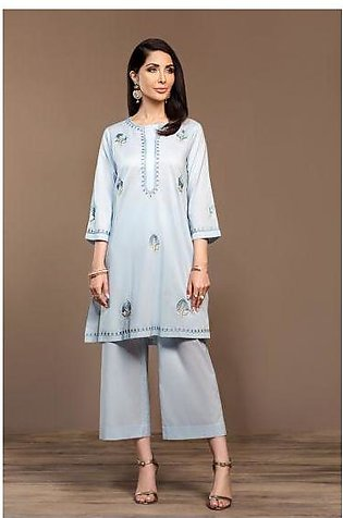 KF20-37 Dyed Embroidered Stitched Formal Shirt & Trouser – 2PC