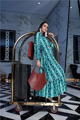 FW20-25 Digital Printed Micro Modal Long Fusion Dress with Mask - 1PC