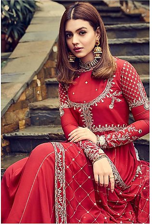 42008005 – Red Georgette & Jacquard Embroidered Luxury Ready To Stitch - 2PC