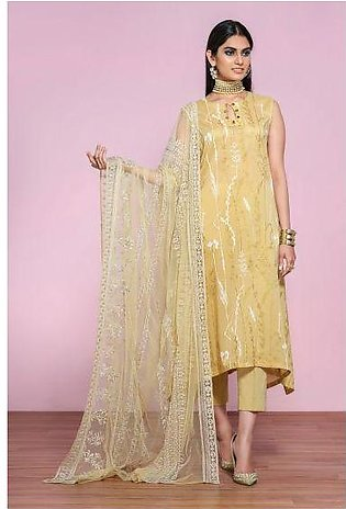 42001304- Gold Printed Lawn, Cambric & Embroidered Net 3PC