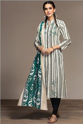 PS20-37 Printed Embroidered Stitched Zari Cotton Frock & Dupatta - 2PC
