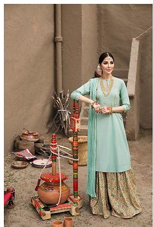 KF20-79 Printed Embroidered Stitched Formal Lawn Shirt & Gharara – 2PC