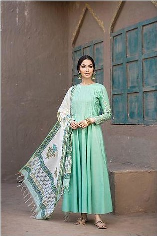 KF20-38 Dyed Embroidered Stitched Formal Long Dress & Dupatta – 2PC