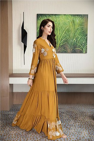 KFW20-60 Formal Stitched Embroidered Silk Long Dress-1PC