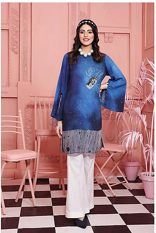 PW20-122 Printed Stitched Linen Shirt-1PC