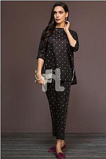 KF-468 Black Printed Stitched Formal Cotton Shirt & Embroidered Cotton Trouser – 2PC