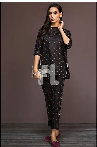 KF-468 Black Printed Stitched Formal Cotton Shirt & Embroidered Cotton Trouse...