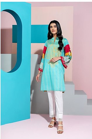 PS20-195 Digital Printed Embroidered Stitched Super Fine Lawn Shirt - 1PC