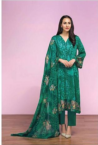 42001292- Printed Lawn, Cambric & Printed Embroidered Voil 3PC