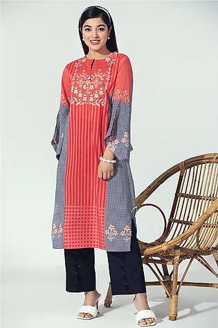 PE21-53-Handkerchief Sleeves Detailing Printed Stitched Shirt-1PC