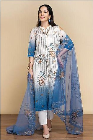 42001303- Digital Printed Lawn, Cambric & Embroidered Net 3PC