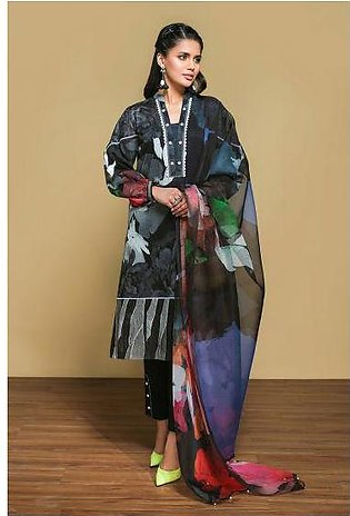 42001273- Digital Printed Embroidered Lawn, Cambric & Organza 3PC