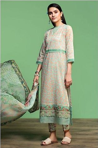 42001066-Digital Printed Embroidered Lawn, Cambric & Chiffon 3PC