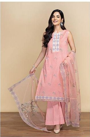 42001305- Digital Printed Lawn, Cambric & Embroidered Net 3PC