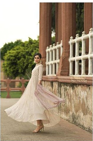KF-556 Embroidered Stitched Formal Net Shirt & Dupatta – 2PC