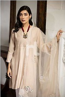 KF-435 Pink Embroidered Stitched Formal Cotton Net Shirt & Polyester Net Dupatta – 2PC