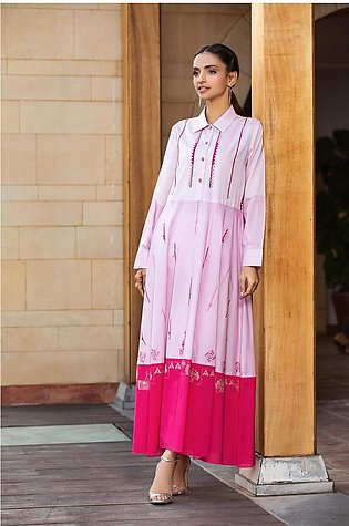 KPS21-19-Embroidered Placket & Button Detailing Formal Stitched Long Dress-1PC