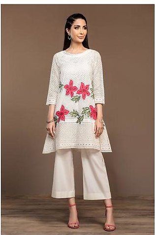 KF20-25 Dyed Embroidered Stitched Formal Lawn Shirt & Voil Slip – 1PC