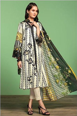 42001032-Printed Embroidered Lawn, Cambric & Voil 3PC
