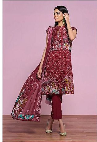 42001291- Digital Printed Embroidered Lawn, Cambric & Voil 3PC