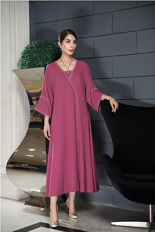 KFW20-58 Formal Stitched Kimono Embroidered Silk Gown & Trouser-2PC