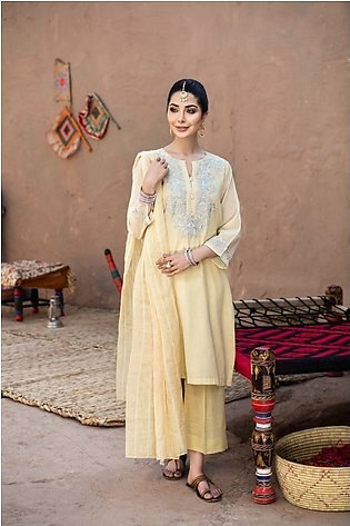 KF20-89 Dyed Embroidered Stitched Formal Zari Net Shirt, Trouser & Dupatta – 3PC
