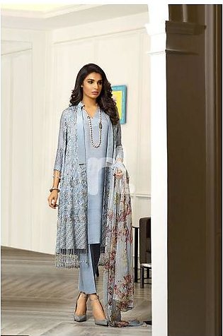 41908002-Chiffon – Grey Printed Embroidered Luxury Unstitched - 3PC