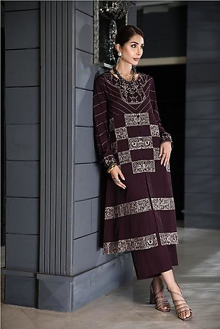 KFW20-37 Embroidered Stitched Formal Silk Shirt & Culottes- 2PC