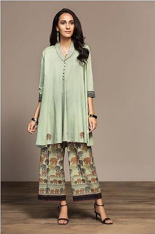 PS20-173 Dyed Embroidered Stitched Lawn Frock & Printed Trouser - 2PC