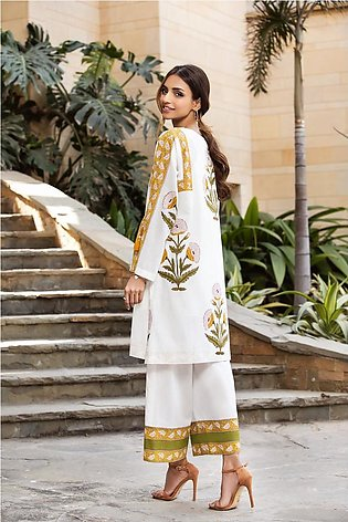 KPS21-32-Indian Block Printed Formal Stitched Boxy Kurta with Trouser -2PC