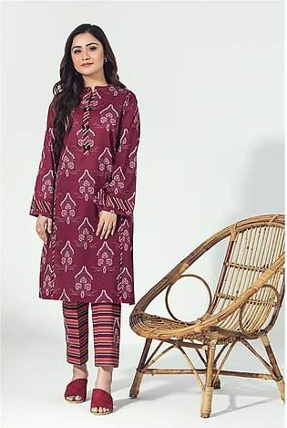 PE21-01-Beads & Tassel Button Detailing Printed Stitched Shirt with Trouser-2PC