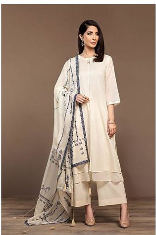 KF20-07 Dyed Embroidered Stitched Formal Shirt, Trouser & Dupatta – 3PC