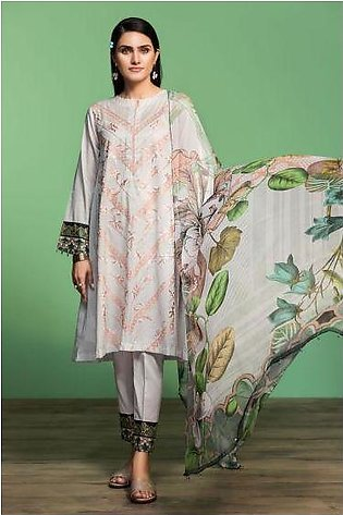 42001070-Digital Printed Embroidered Lawn, Cambric & Chiffon 3PC