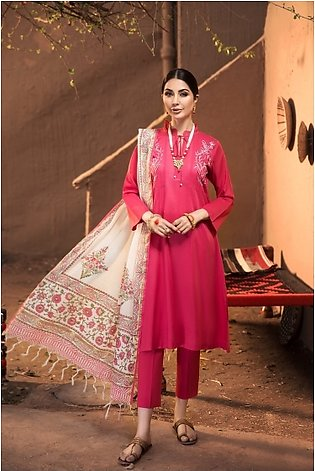 KF20-60 Dyed Embroidered Stitched Formal Lawn Shirt & Dupatta – 2PC