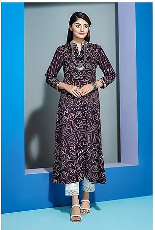PS20-250 Printed Embroidered Stitched Super Fine Lawn Long Dress- 1PC