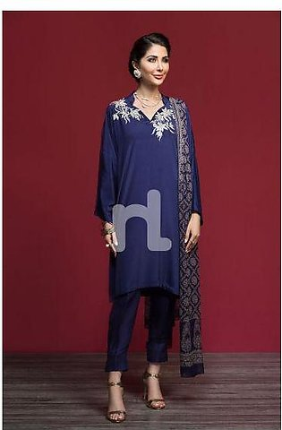 KF-520 Blue Embroidered Stitched Formal Silk Shirt & Chiffon Embellished Dupa...