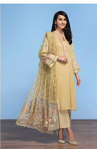 42001301- Digital Printed Lawn, Cambric & Embroidered Net 3PC