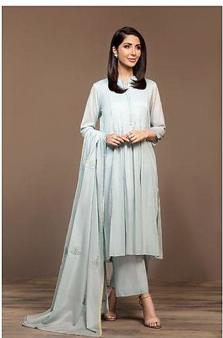 KF20-05 Dyed Embroidered Stitched Formal Voil Shirt, Slip, Trouser & Dupatta ...