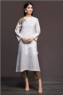 KF-395 White Printed Embroidered Stitched Formal Linen Shirt & Printed Linen Trouser – 2PC