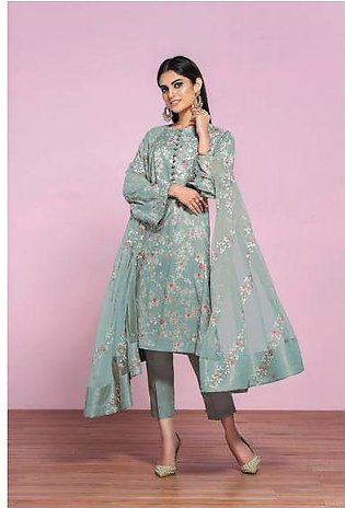 42001296- Printed Lawn, Cambric & Embroidered Net 3PC