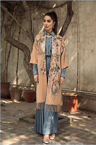KFW20-56 Formal Stitched Embroidered Kimono Woolen Jacket-1Pc