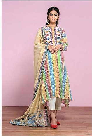 42001293- Printed Embroidered Lawn, Cambric & Voil 3PC