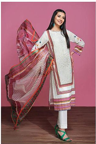 42001275- Digital Printed Embroidered Lawn, Cambric & Organza 3PC