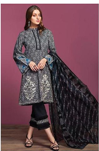 42001081-Printed Embroidered Lawn, Cambric & Rib Voil 3PC
