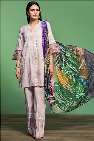 42001064-Digital Printed Embroidered Lawn, Cambric & Chiffon 3PC